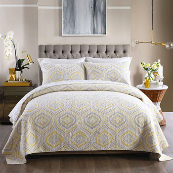 CHAUSUB New Washed Cotton Quilt Set 3PCS Quilted Bedspread Printed Quilts Bed Cover King Size Coverlet Set Pillowcase Bedding