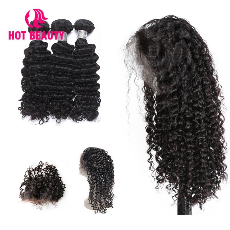 Горячие Красота волос Бесплатная парики на заказ предварительно сорвал 360 кружева фронтальной с Комплект глубокая волна бразильский челов