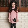 Outono / inverno engrossar o vestido da menina de veludo de algodão roupas meninas vestido de bebê infantil bordado vestido de princesa roupa dos miúdos vestido