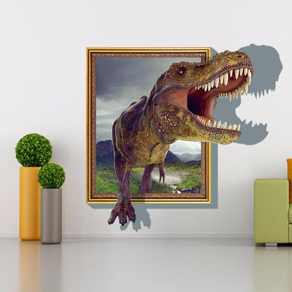 New DIY Self-adhesive PVC Wall Decorative Sticker Interesting 3D Roaring Vivid Dinosaur Pattern for Room Home Steps Decor