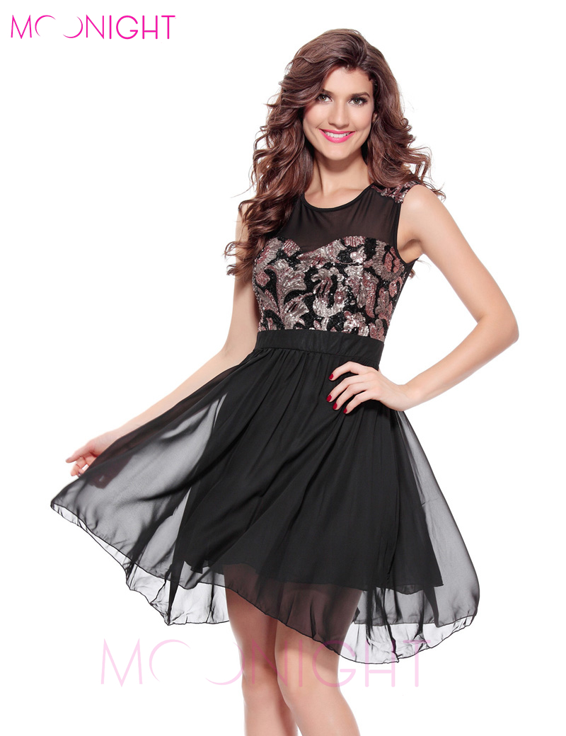 Buy Cheap MOONIGHT 2017 Summer Dress New Women Match Sequined Flower Sleeveless Party Dresses Female Sexy Club Wear Clothing