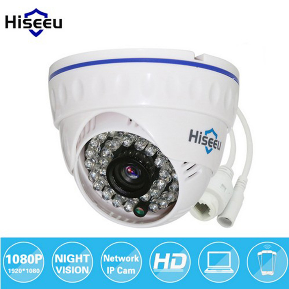 hiseeu1080P HD IP Camera Indoor Mini Dome Security Camera 2.0MP IR Night Vision ONVIF 2.0 Home Video Network Surveillance Camera hd 720p ip camera onvif black indoor dome webcam cctv infrared night vision security network smart home 1mp video surveillance