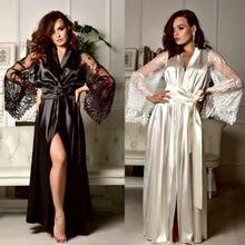 2019 Sexy Lingerie Women Silk Lace Long Robe Dress Pajamas Nightdress Nightgown