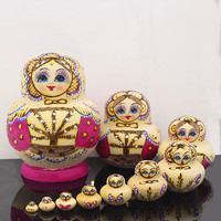 Mnotht 10 Layer Pure Hand Painted Russian Dolls Dry Basswood Matryoshka Nesting Doll Art and Crafts DIY Education Toy L30