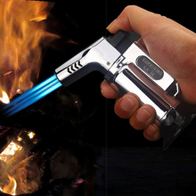 Outdoor BBQ Lighter Cigar Torch Turbo Pipe Gas Jet Butane Cigarette 1300 C Spray Gun Windproof 3 Nozzles Fire Kitchen