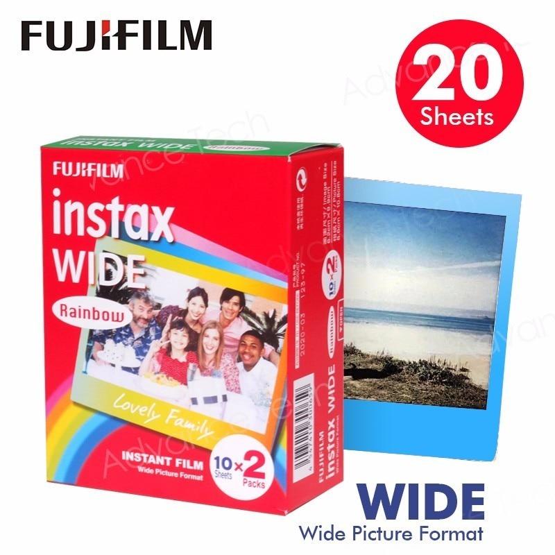 Genuine Fujifilm Instax Wide Film Rainbow 20 Sheets Photo Paper For Fuji Instant Camera 300 / 200 / 210 / 100 / 500AF 60 films fujifilm instax rainbow wide instant white edge for fuji camera 100 200 210 300 500af lomography photo
