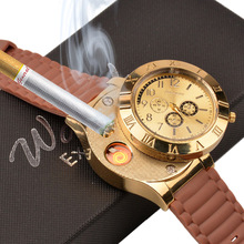 Fashion Casual watches Quartz Watch Men Women Wristwatches + USB Electronic Rechargeable Windproof Flameless Cigarette Lighter