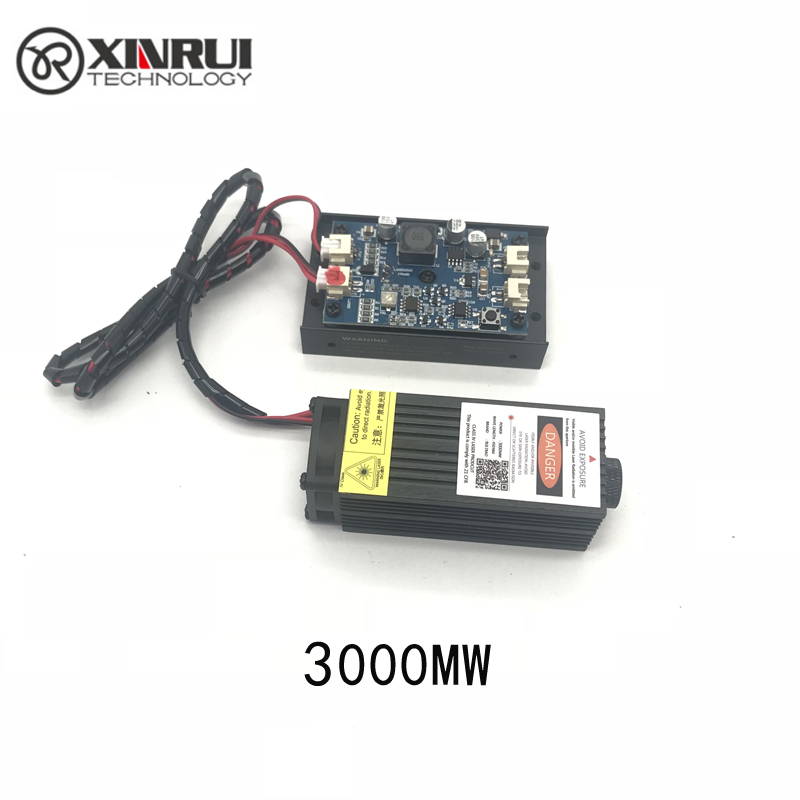 3w High Power 445NM Focusing Blue Laser Module Laser Engraving And Cutting TTL Module 3000mw Laser Tube+googles