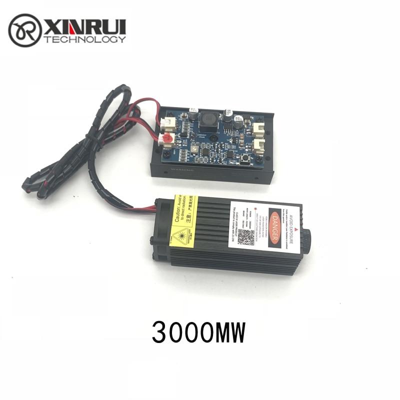 3w de alta potencia 445NM módulo láser azul de enfoque láser grabado y corte Módulo TTL 3000mw tubo láser + google