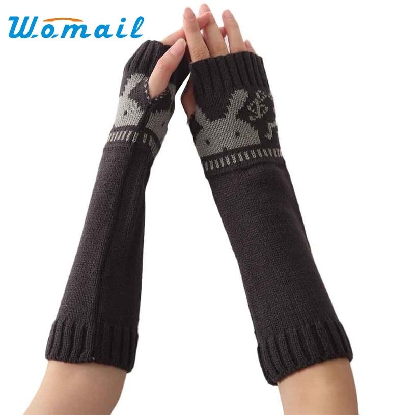 Arm Knit Rabbit Pattern : Womail gloves winter women rabbit pattern long soft knit