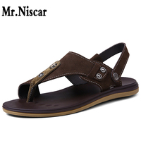 Mr Niscar Summer Men Thong Sandals Fashion Vintage Flat Heels Cow Suede Mens Genuine Leather Casual