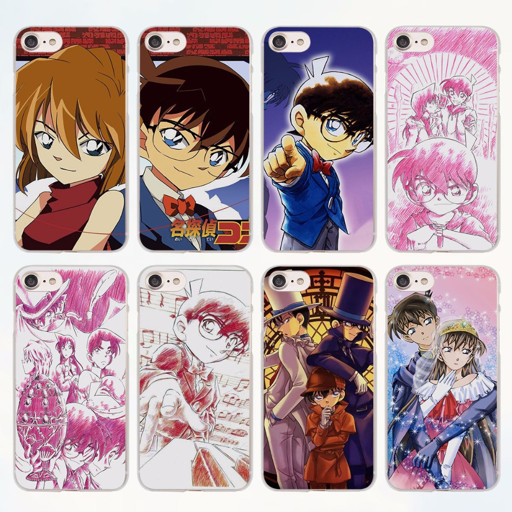 famous Japanese ANIME Detective Conan design transparent clear Cases Cover for Apple iPhone 6 6s Plus 7 7Plus SE 5 5s 4s 5c