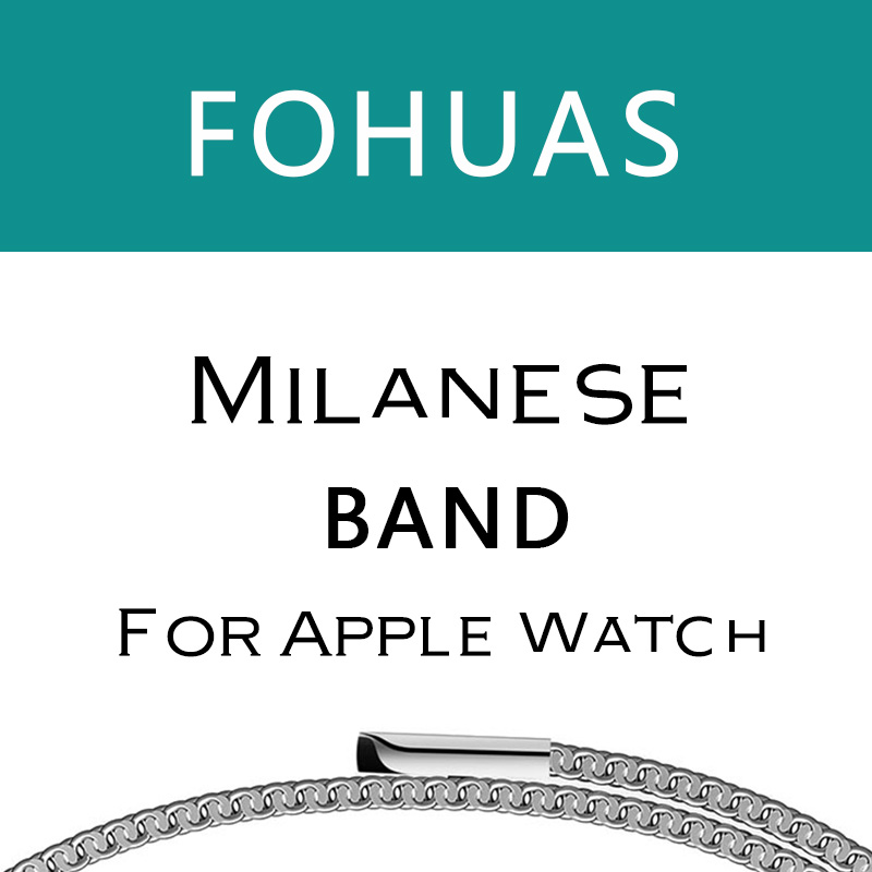 FOHUAS milanese loop for apple watch Series 1 2 band for iwatch stainless steel strap Magnetic adjustable buckle with adapters polar loop 2 pink