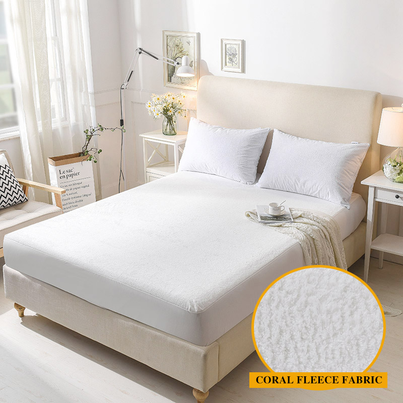 Coral Fleece Fabric Anti-mite Waterproof Mattress Protection for <font><b>Bed</b></font> Wetting&<font><b>Bed</b></font> Bug Breathable Hypoallergenic 1PC