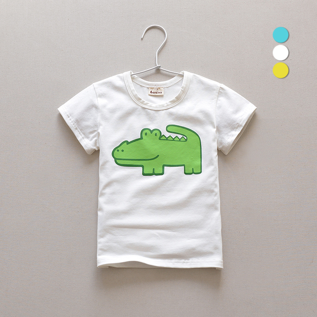 Children's Wear Summer New Boys Round Collar Leisure Cartoon Short Sleeves T-shirt Blue White Yellow
