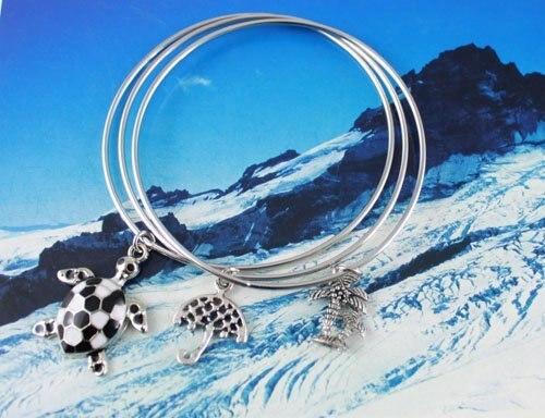 30PCS Beach Charm Triple Bangle Bracelet #20357