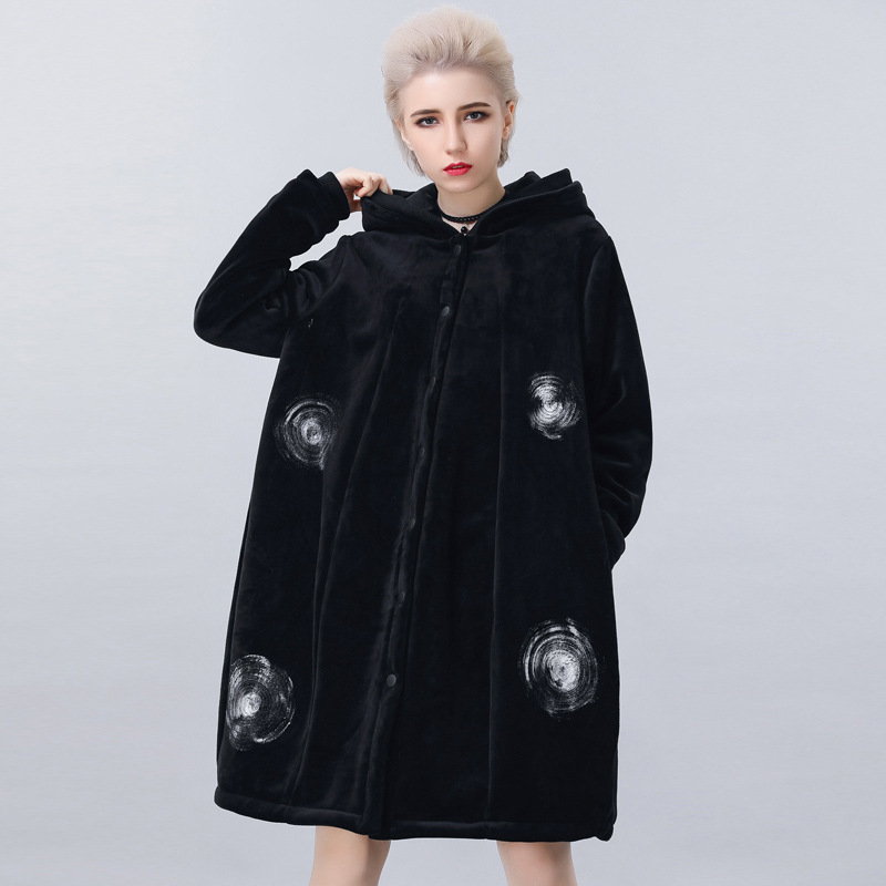 2017Fashion Women warm thicken gold velvet long parkas winter fleece hooded polka dot loose coat outwear overcoat plus size1817 women lady thicken warm winter coat hood parka overcoat long outwear jacket