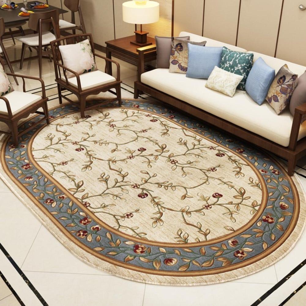 Pastoral Oval Carpets For Living Room Home Decor Carpet