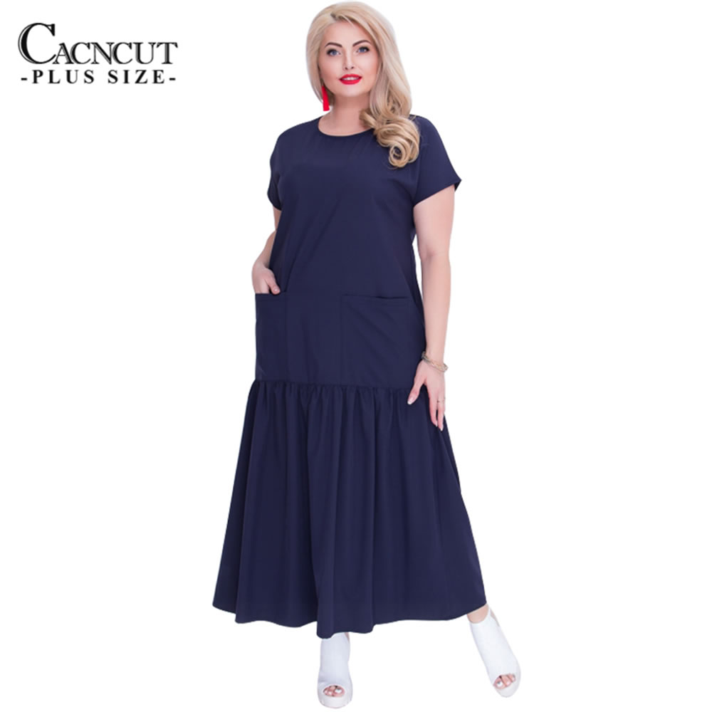 2018 new summer casual loose solid big size long dress for women with  pockets patchwork draped 4cd0084fc