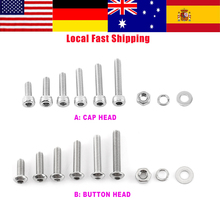 300Pcs/Set M3 304 Stainless Steel Hex Socket Screws Cap head/Button head Screw Nut & Bolt and Hex Nuts Washer Assortment Kit new 340pcs assorted stainless steel m3 screw 5 6 8 10 12 14 16 18 20mm with hex nuts bolt cap socket set