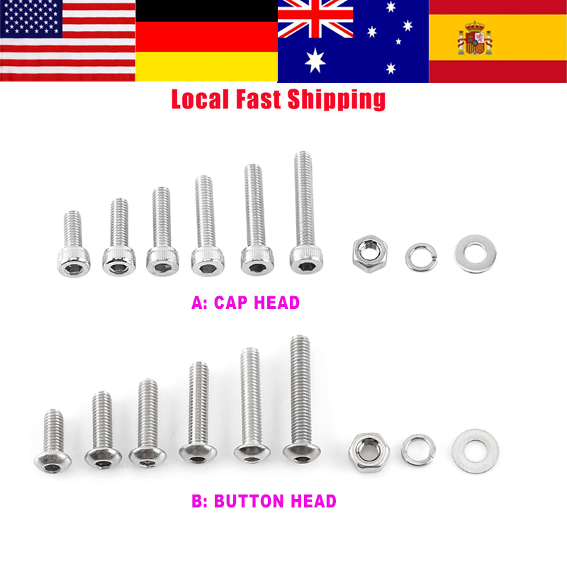 300Pcs/Set M3 304 Stainless Steel Hex Socket Screws Cap head/Button head Screw Nut & Bolt and Hex Nuts Washer Assortment Kit new