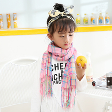 tartan plaid scarf 2016 autumn winter children scarf baby girls/kids pink plaid cotton polyester blended fashion scarf wholesale