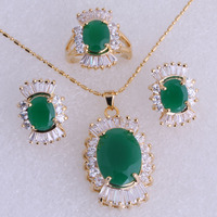 Beautiful Green Emerald Cubic Zirconia 18K Yellow Gold Plated Jewelry Sets For Women SH0039