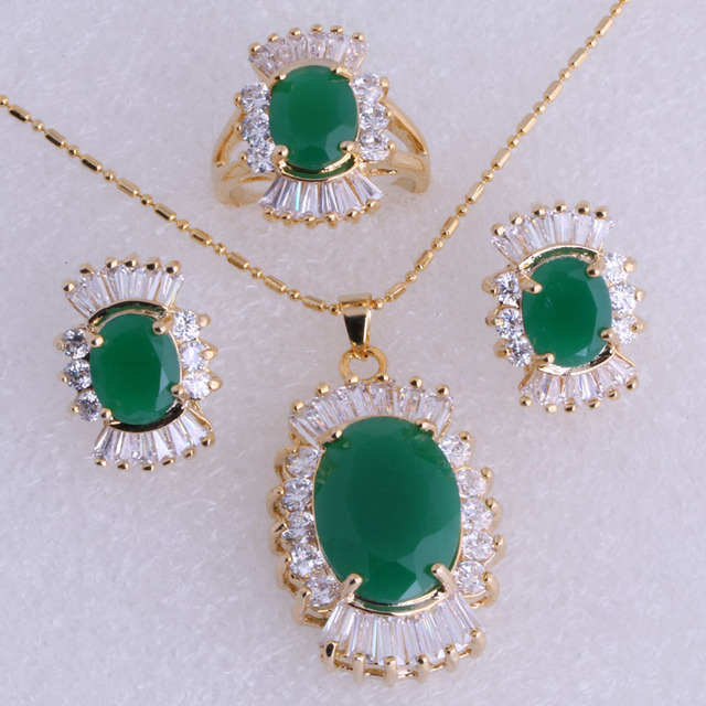 Beautiful Green Imitation Emerald & Cubic Zirconia Yellow Gold Plated Jewelry Sets for Women SH0039