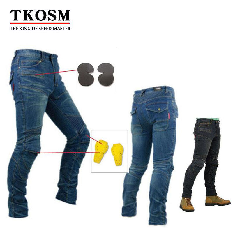 TKOSM PK718 Same Model Motorcycle Men Pants off-road Black and Blue Women Trousers Outdoor Men Jeans Cycling Have Pads Pants brand 2017 new fashion men s straight flanging nine points trousers big embroidered jeans black and blue jeans male m xxl
