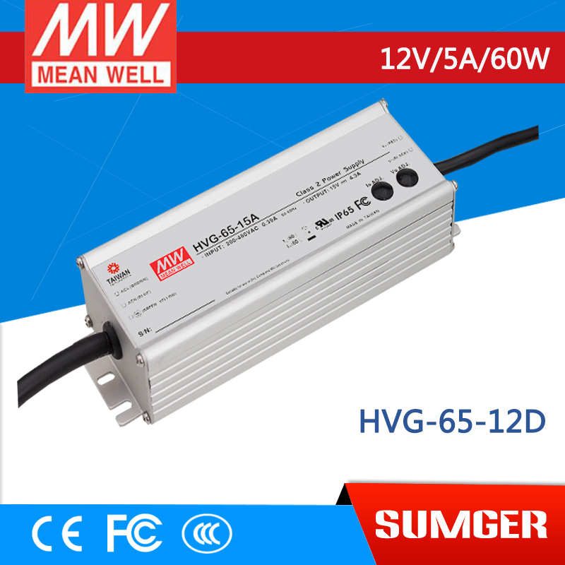 1MEAN WELL original HVG-65-12D 12V 5A meanwell HVG-65 12V 60W Single Output LED Driver Power Supply D type  [powernex] mean well original hvg 65 54d 54v 1 21a meanwell hvg 65 54v 65 3w single output led driver power supply d type