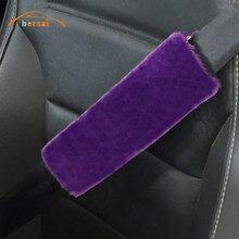 11 colors Plush Faux Sheepskin Wool Fur Auto Car Seat Belt Shoulder Pads Cover Winter Fluffy Harness Seatbelt  pink red black
