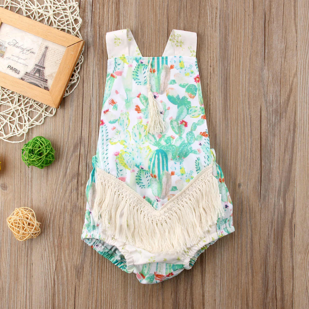 6bf24e9f3cb ... Newborn Infant Baby Girl Cactus Backless Romper Tassel Jumpsuit Outfit  Clothes Baby Clothing ...