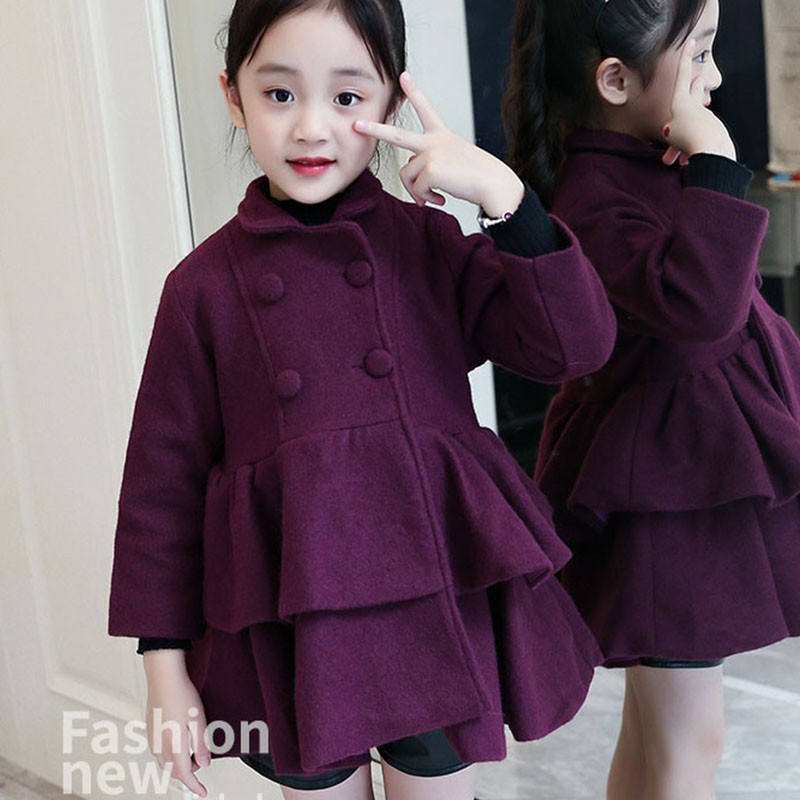 Woolen Layered Big Girls Winter Dress Coat Thick Warm Ruffles Jackets Baby Girl Outwear Autumn Kids Tops Clothes Red PurpleWoolen Layered Big Girls Winter Dress Coat Thick Warm Ruffles Jackets Baby Girl Outwear Autumn Kids Tops Clothes Red Purple