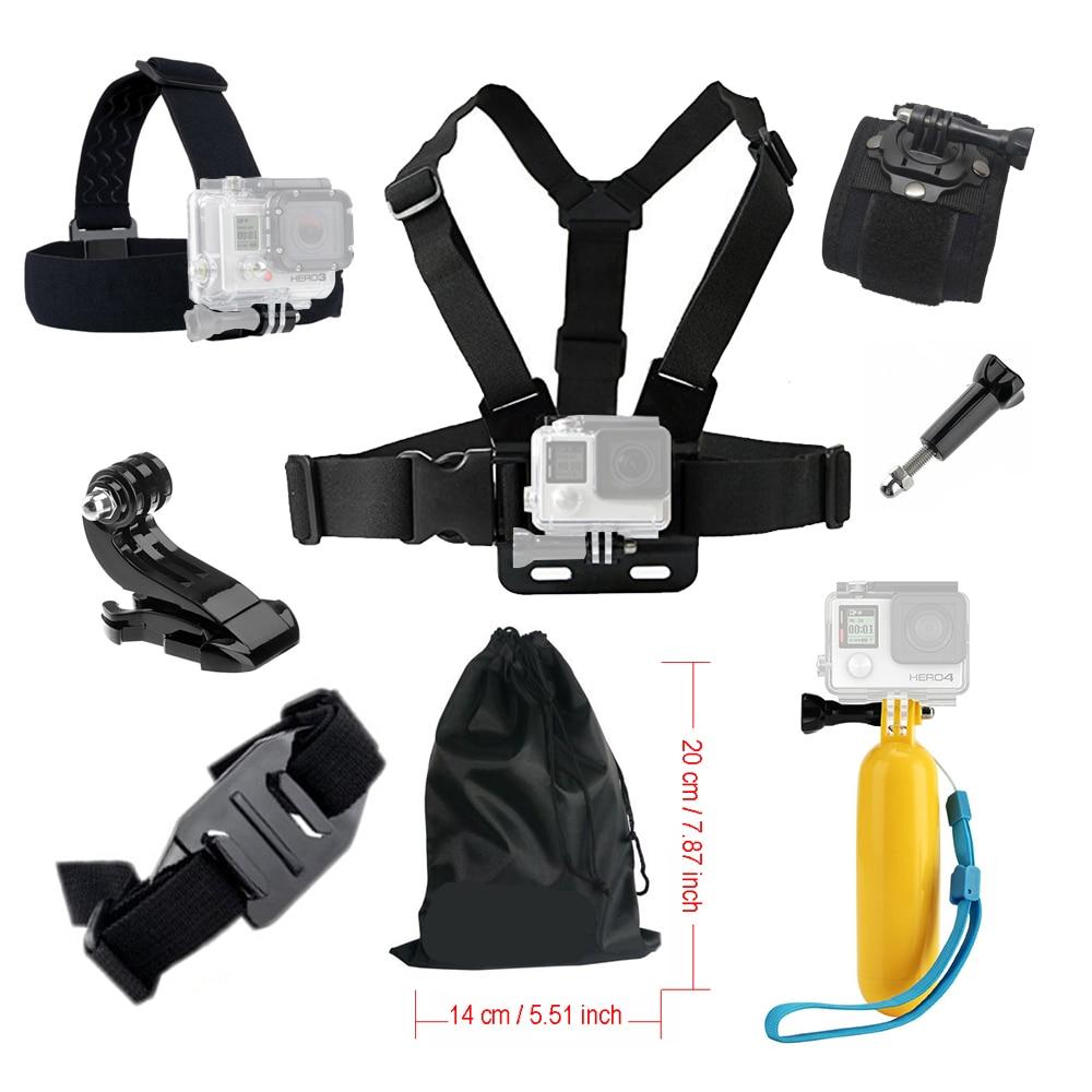 Prix pour Accessoires kit Pour Gopro hero 5 camera Action Chest Head Strap pour Aller pro SJCAM SJ4000 4 K Manfrotto Flottant Bobber Mont 39