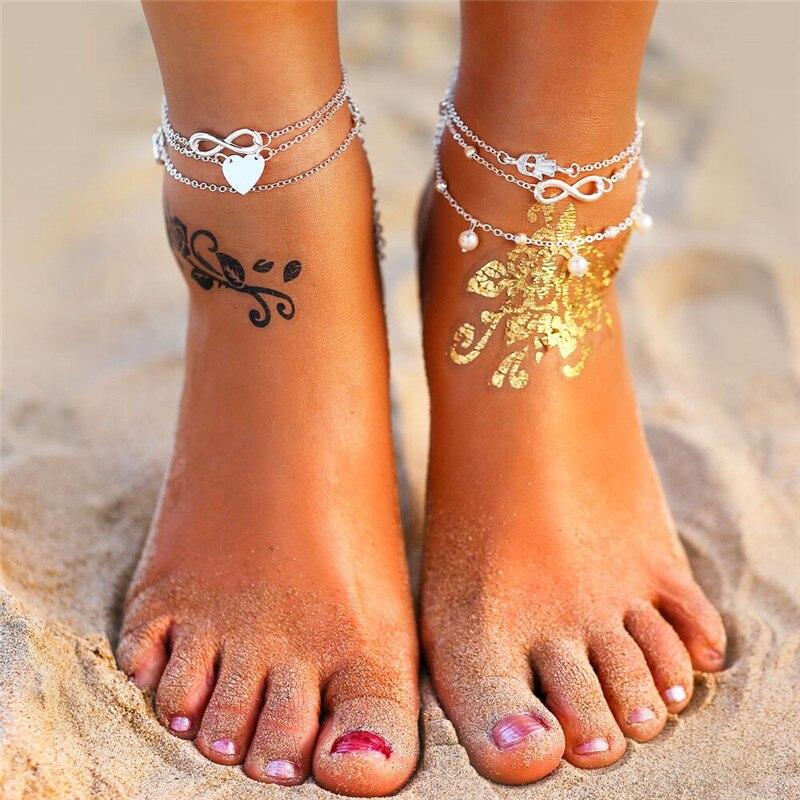 17KM Boho Anklet Bracelets 2019 For Women Vintage Heart Infinite Anklets Set Beach Bohemian Jewelry Drop shipping