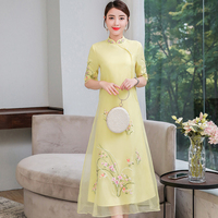 Chinese Style Women Dress 2019 Summer Vintage Floral Embroidery Sundress Casual Half Sleeve Party Dresses Plus Size Vestidos