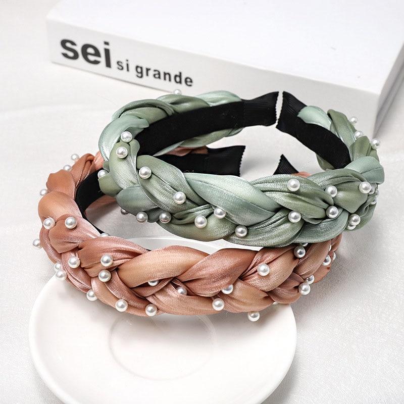 Bohemian Satin Silk Braided Hairband With Pearl Headband Hair Accessories Hair Jewelry hair bands for women in Women 39 s Hair Accessories from Apparel Accessories
