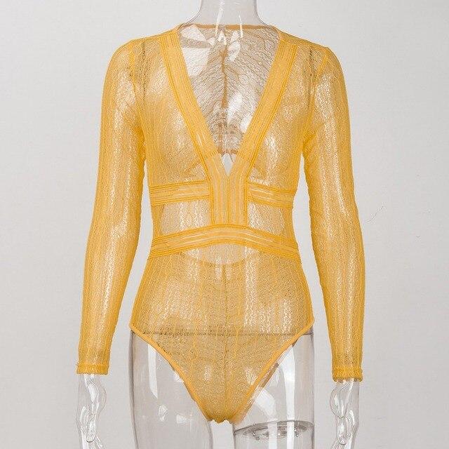 Women  Lace Mesh Crochet Rompers Long Sleeve BodyconSexy Deep V Neck Bodysuit Autumn Jumpsuit Transparent Women Clothing 2