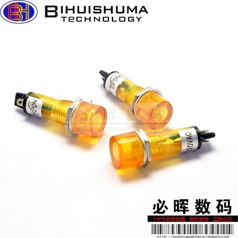 Free shipping 10PCS 220V 10mm yellow LED Power Indicator Signal Light /Small signal power XD10-3