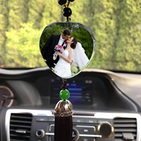 Personalized Photo DIY Car Decoration Ornaments Customized Pictures Image Crystal Pendants With Tassel Car Styling Accessories