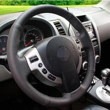 Negro de Cuero Artificial Cubierta Del Volante Del Coche para Nissan QASHQAI X-trail NV200 Rogue