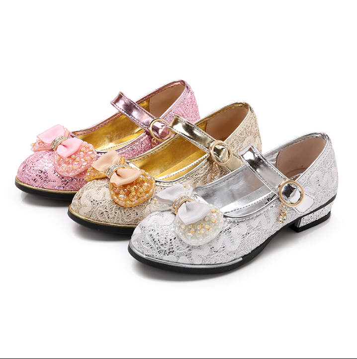Apring Autumn 2017 new Girls Shoes Gold Silver Princess Shoes Little Girl High-heeled Dance Show Shoes, Childrens Shoes ...