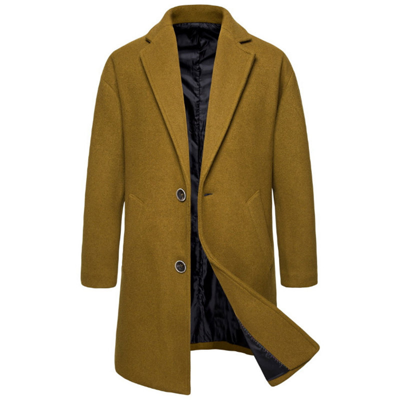 Autumn Trend Mens Woolen Jacket Coat Solid Color Wool Blends Coat Winter Long Trench Coat Men Fashion Jackets Men Overcoat(China)