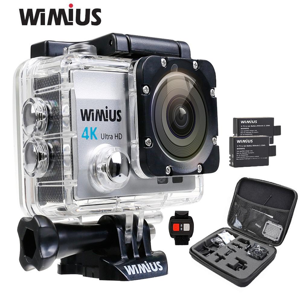 Prix pour Wimius q3 action sport caméra 2.0 pouce 4 k full hd 16mp aller Étanche 40 M Pro Accessoires Kit + 2 Batteries + 2.4G À Distance contrôle