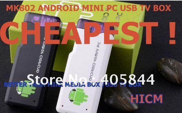 Singapore post Free shipping buy mk802 android mini pc rikomagic tv box usb 1GB wifi hdmi digital freeview  Cheapest