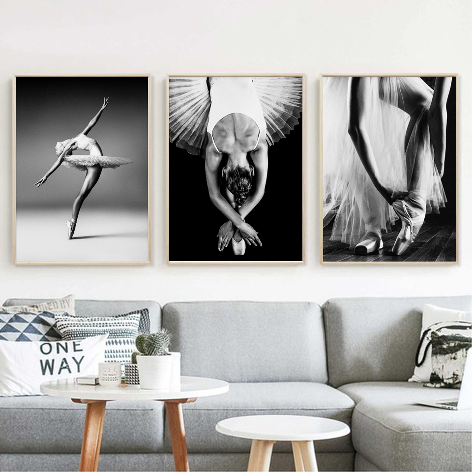 Canvas Print Picture Wall Art Nordic Poster Black And White Elegant Ballet Dance Paintings Home Decoration Module Living Room