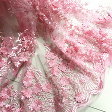 1Meter Pink 3d Flower African Lace Material Sew Wedding Evening Dress Cloth Net Mesh Embroidered Fabric Patchwork Diy 125CM wide 3d gold ribbon water solube embroidered fabric material tulle african lace applique for sew cloth wedding dress accessories diy