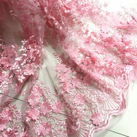 1Meter Pink 3d Flower African Lace Material Sew Wedding Evening Dress Cloth Net Mesh Embroidered Fabric Patchwork Diy 125CM wide