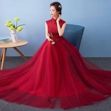 Modern Winter Qipao Long Cheongsams Kinesiska Bröllopsklänning Brud 2017 Traditionella Vestido Orientaliska Festklänningar Röd Qi Pao