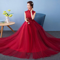 Modern Winter Qipao Long Cheongsams Chinese Wedding Dress Bride 2017 Traditional Vestido Oriental Party Dresses Red Qi Pao